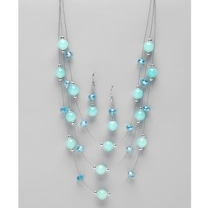 Tri-Layer Ble Glass Crystall Necklace-Earring Set